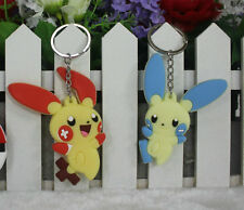 pokemon Plusle Minun 2pcs silicone keychain rubber key chain gift new