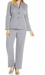 Le Suit Plus Size Two-Button Herringbone Pantsuit 22W