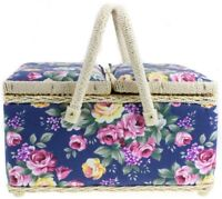 FLORAL PRINT TWIN LIDDED PADDED SEWING BASKET / CRAFT BOX WITH REMOVABLE TRAY