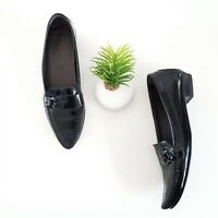 Stuart Weitzman Loafers Black Patent Leather Pointed Flats Shoes Womens Size 8.5