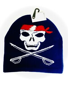 Red and White Pirate Skull Blue Beanie