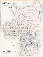 MAP ANTIQUE 1873 BEERS COLLEGE POINT QUEENS NEW YORK REPRO POSTER PRINT PAM1912
