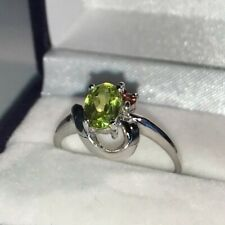 9ct Yellow Gold Fancy Peridot & Ruby Cluster Ring Size N