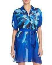 New Gottex Blue Multi Lanai Shirt Dress Swim Cover-Up Sz M NWT $198