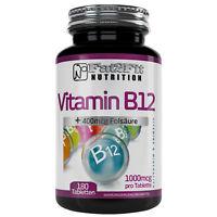 Vitamin B12 180 Tabletten je 1000mcg + 400mcg Folsäure HOCHDOSIERT