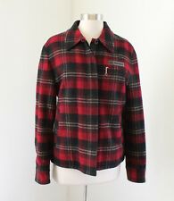 Polo Jeans Co Ralph Lauren Red Plaid Wool Blend Sherpa Lined Jacket Coat Size S