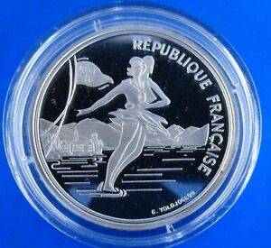 """OLYMPIC GAMES France 100 francs 1989 (PROOF) """"1992 Olympics - Albertville - Ice"""