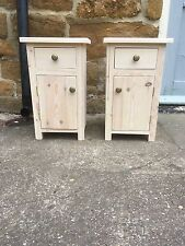 PAIR H50 W30 D30cm BESPOKE BEDSIDE HALL CUPBOARD & DRAWER TABLE UNTREATED PINE