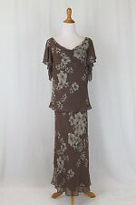ADRIANNA PAPELL Beaded Silk 1920's 30's Flapper Gatsby Deco 2pc Dress Gown 14