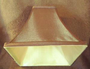 """Lamp Shade SALE - Brown and Gold Satin - Empire Square - 9"""" x 9"""""""
