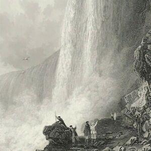 HORSE-SHOE FALL NIAGARA After Thomas Allom 1844 fine steel engraved print