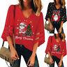 Women's V-Neck Mesh Top Trumpet Sleeves Shirt Loose Christmas Top Blouse