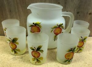 Vintage Gay Fad Peaches Frosted Pitcher And 6 Juice Glass Set