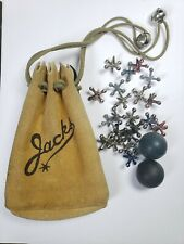 Vintage Toy Jacks w/ Suede Leather Pouch
