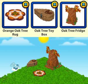 2015 Webkinz 3-pc ACORN COLLECTION Lot: Orange Oak Tree Rug & Toy Box & Fridge