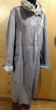 Centigrade Washable Faux Shearling Coat with Faux Fur Collar Silver Grey Size XL
