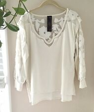NEW ROMANTICS FREE PEOPLE Medium White Cap Sleeve Lace Sheer Long Shirt Top M