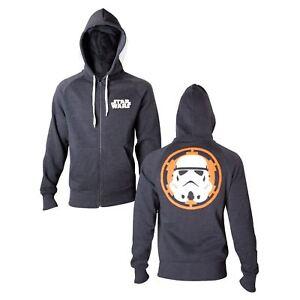 Star Wars Stormtrooper Hoodie Mens Grey Zip Up Hooded Sweatshirt Unisex