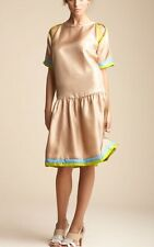 "NEW CYNTHIA ROWLEY DROP WAIST ""SILK SCARF"" SLIT BACK DRESS-CAMEL-10-$407"