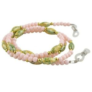 Marbled Green-Yellow-Coral Pink Beads Optical Glasses Lanyard (AEC117SGY-CP)