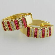 Sehr schöne 750er Gold Ohrringe mit Pink Turmalin & 18 Brillanten - V908