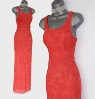 Karen Millen Orange Coral A Line Style Sheer Cocktail Party Maxi Dress UK10 EU38