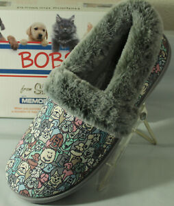 BOBS FROM SKECHERS TOO COZY POOCH PARADE DOG PRINT WOMEN'S SLIPPERS,  33351/GYMT