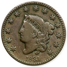 1831 N-5 R-4 Med Letters Matron or Coronet Head Large Cent Coin 1c