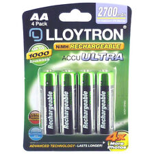 4 x Lloytron AA Rechargeable Batteries 2700 mAh Rechargable 1 x 4 Pack