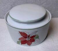 Block Spal Poinsettia Sugar Bowl Watercolors Mary Goertzen Red 1982