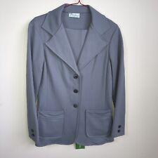 Alan Green Gray Suit Blazer Jacket Coat & Pants Elastic Waist Band Vtg Size 8