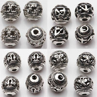 10/20 Pcs Multi-Pattern Tibetan Silver Loose Spacer Beads Charms Finding 8mm DIY