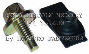 YELLOW 5/16 FENDER BOLTS & LONG FOLDOVER NUTS 24 FORD LINCOLN  MERCURY (9518)