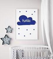 Hello Cloud Navy White Baby Kids Boys Play Room Nursery Wall Art Colour Print