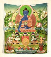 US Seller-Medicine Buddha Tibetan Thangka wall tapestry home accent wall hanging