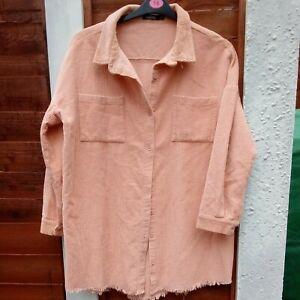 Oversized Peach BOOHOO Cord  Shacket Overshirt UK Small
