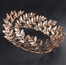 Greek Gold Leaf Headpiece Full Crown Pageant Tiara Wedding Hair Accessories Gold