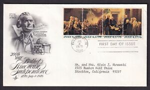 US 1976 FDC JULY 4 1776  Bicentennial 1691 1692 1693 1694 American Independence