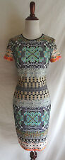 Clover Canyon XS Jewel Patchwork Print Art Deco Mod Chic Fitted Neoprene Dress
