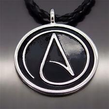"""Men Fashion Atheist Atheism Symbol Silver Pewter Pendant with 20"""" Free Necklace"""