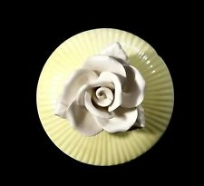 Rare Vintage 1975 Fitz Floyd Yellow & White Trinket Box With Rose - Japan
