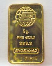 5 Grams PURE 24K GOLD ENGELHARD 999.9 BOULLION Bullion Certified Bar