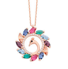 925 Sterling Silver Rose Gold Vermeil Multi Colour Stone Peacock Necklace