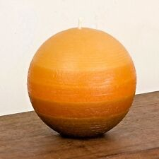 "Orange Ball Candle - 3"" Layered Rustic Sphere - Striped Pillar Nordic Candle"