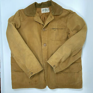 Vintage LL Bean USA Canvas Hunting Jacket Game Pouch Worn In Medium