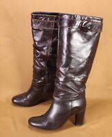 5S Belmondo Damen Stiefel Slouch Boots Leder braun Gr. 38 hoher Absatz