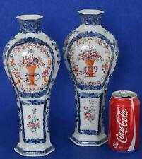 Pair of Chinese Export Qianlong Porcelain Vases Blue White and Enamels 18th C