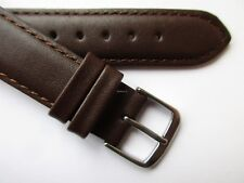 """Dark brown classic """"2 mm thick"""" plain leather watch band 17 mm"""