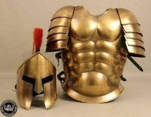 Medieval spartan helmet jacket larp halloween brass costumes muscle armor suit