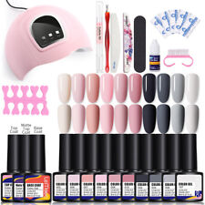 LEMOOC 10Colors Nail Gel Polish Set Soak Off UV Lamp Dryer File Tool Nail Kits